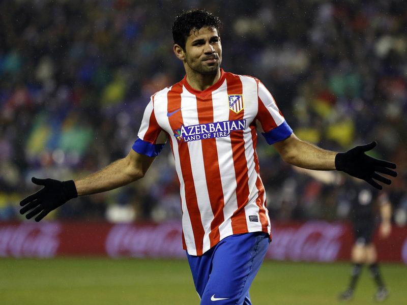 دييغو كوستا مع أتيلتكو مدريد والذي تألق بشدة وكان سبب في أنتقال اللاعب للدوري الأنجليزي من خلال تشيلسي