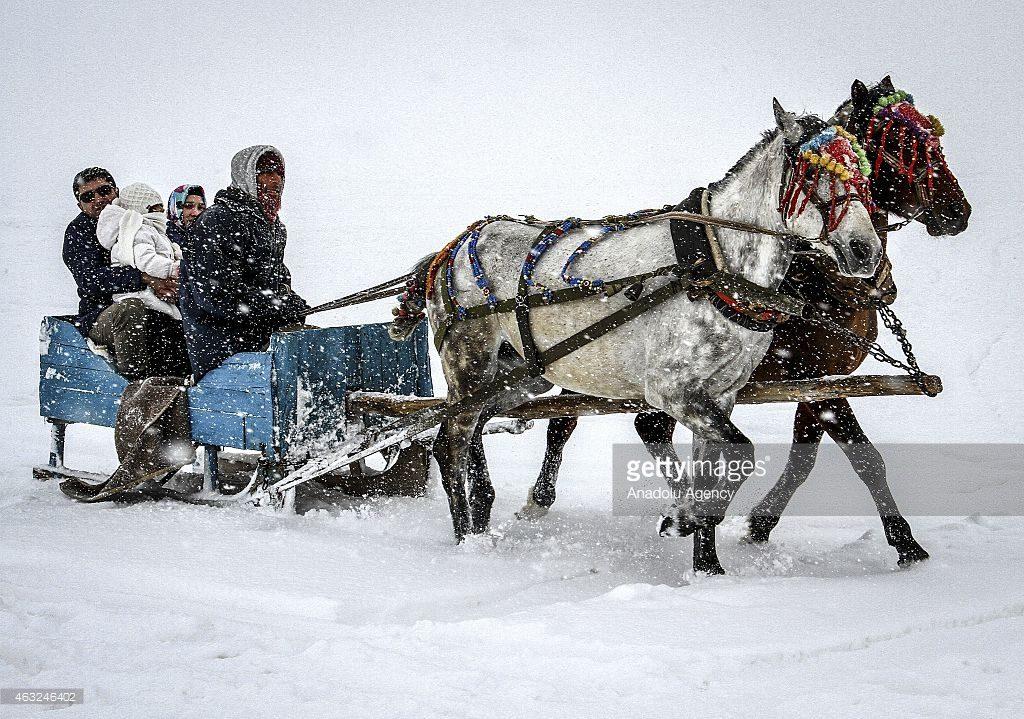 ركوب الدراجات التي يجرها الخيل بجانب بحيرة جليدير تركيا