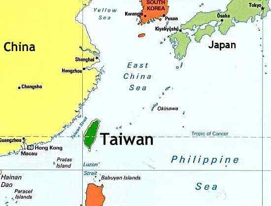 خريطة تايوان الإقليمية