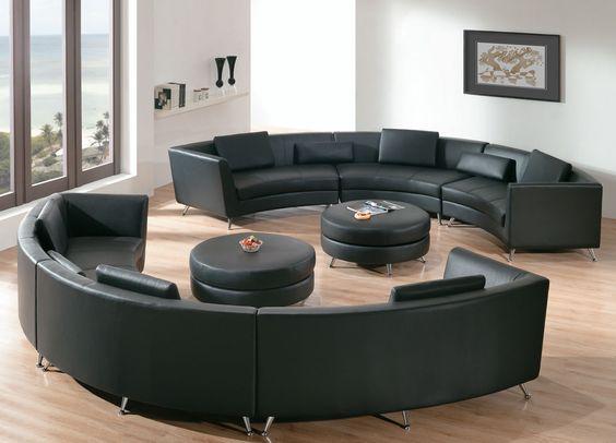 الأرائك الدائرية الديكور (الكنب الدائري) أريكة-باللون-الأسود.