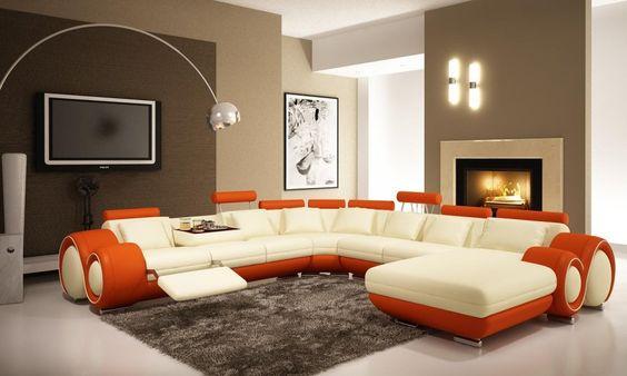 أريكة باللون البرتقالي و الأبيض