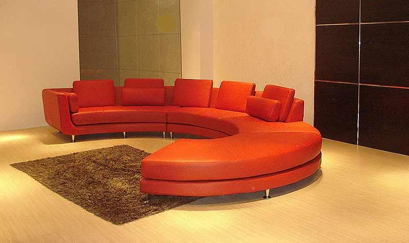 الأرائك الدائرية الديكور (الكنب الدائري) أريكة-باللون-البرتقا