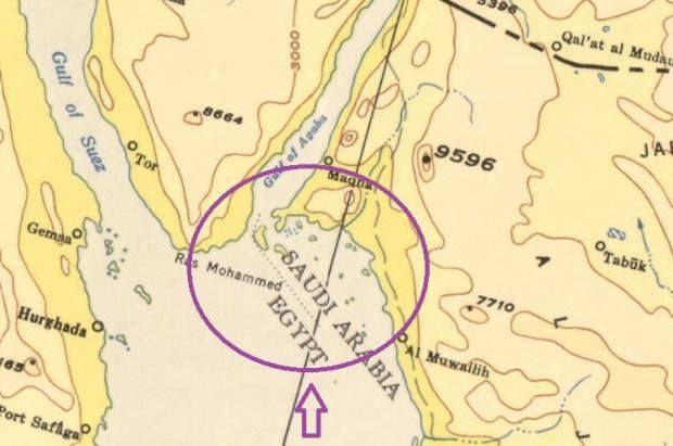خريطة واضحة للجزيرتين تؤكد سعوديتهما
