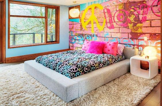 غرفة نوم ملونة