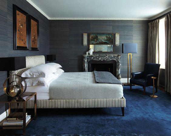 غرفة نوم باللون الرمادي و الأزرق | المرسال
