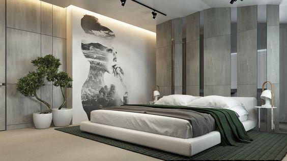 غرفة نوم بجدران منقوشة برسمة فتاة