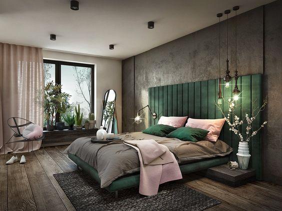غرفة نوم بسرير باللون الأخضر