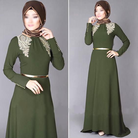 b6066adf3 فستان باللون الأخضر الزيتوني | المرسال