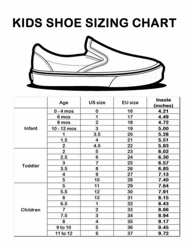 dca62f8c4 جدول قياسات أحذية الأطفال | المرسال