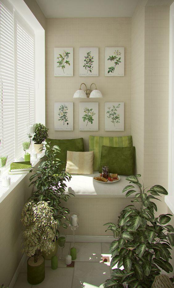 شرفة باللون البيج و الأخضر