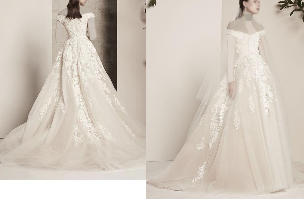 فستان زفاف بأكتاف ساقطة