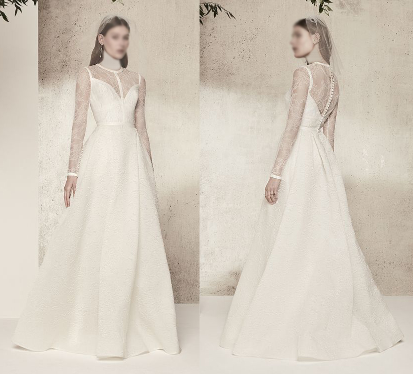 فستان زفاف بأكمام شيفون
