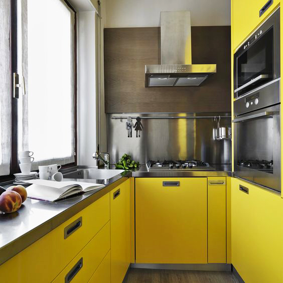 Kitchen Cabinet Doors Different Color Than Frame: مطابخ عصرية صغيرة الحجم