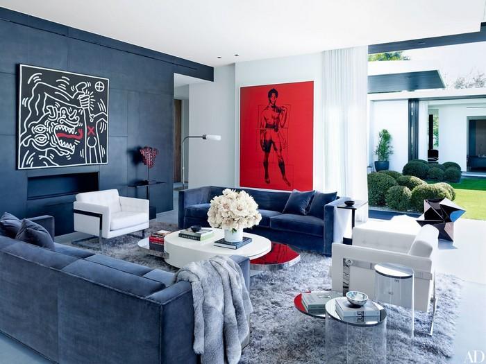 غرفة جلوس باللون الأزرق | المرسال