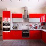 مطبخ ألوميتال باللون الأحمر - 545839