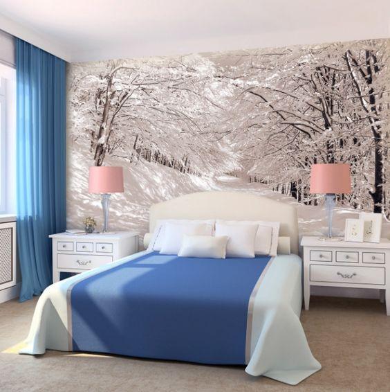 غرفة نوم باللون الازرق و الابيض