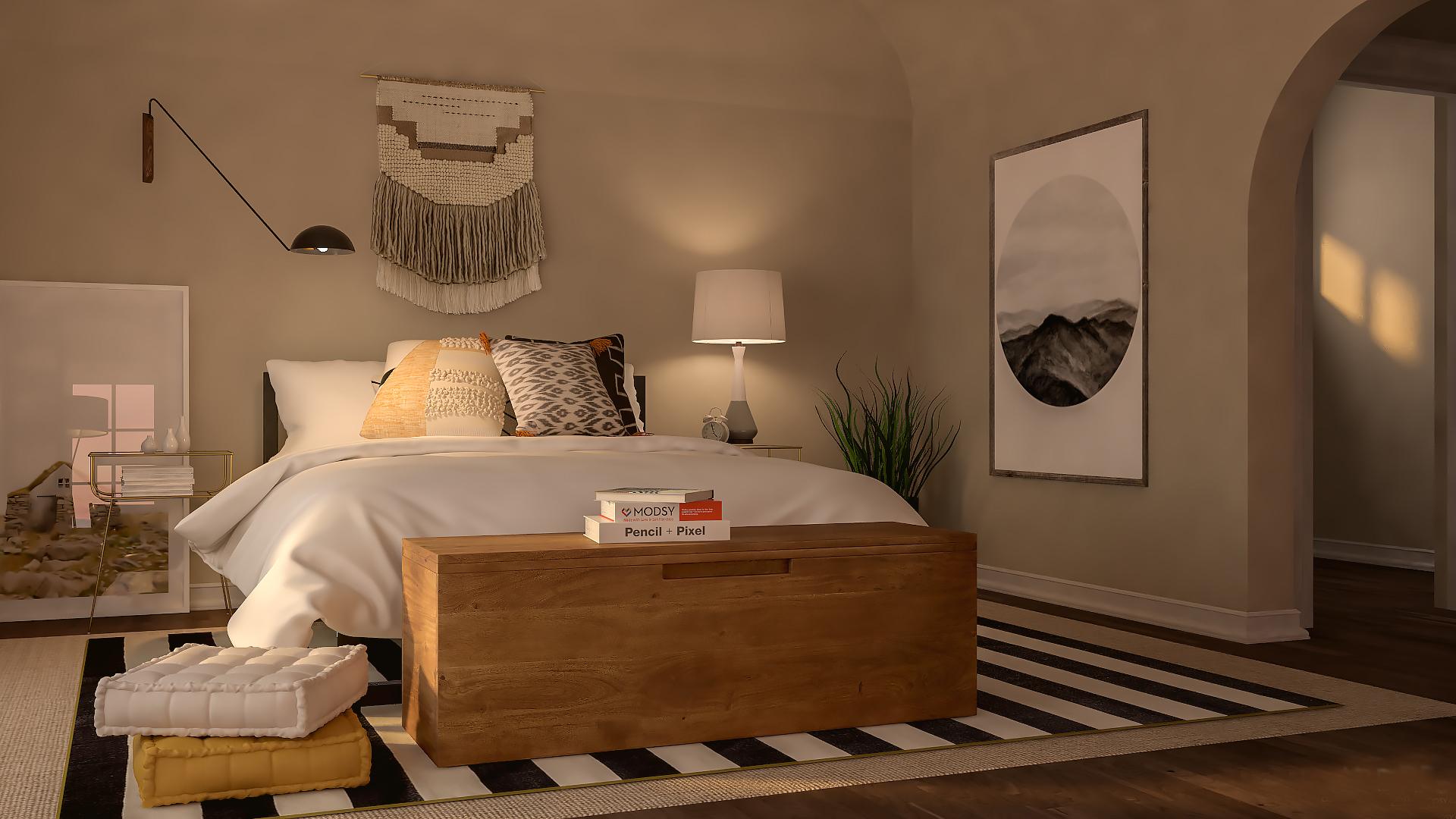 غرفة نوم باللون البيح