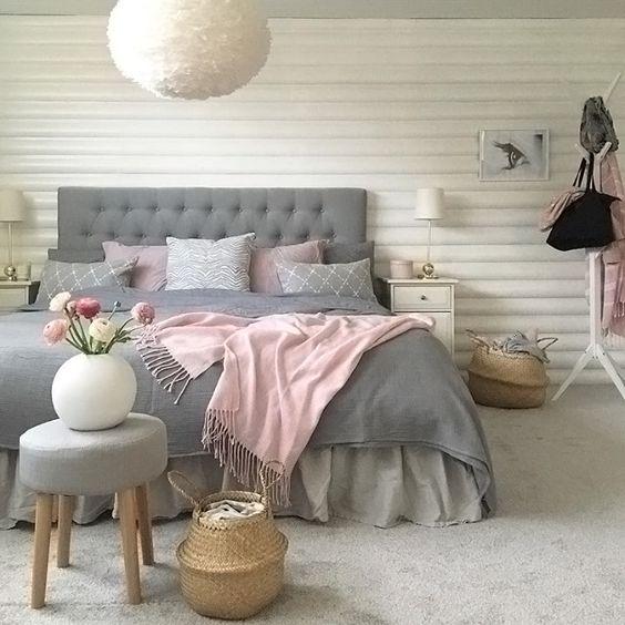 غرفة نوم باللون الرمادي و الابيض | المرسال