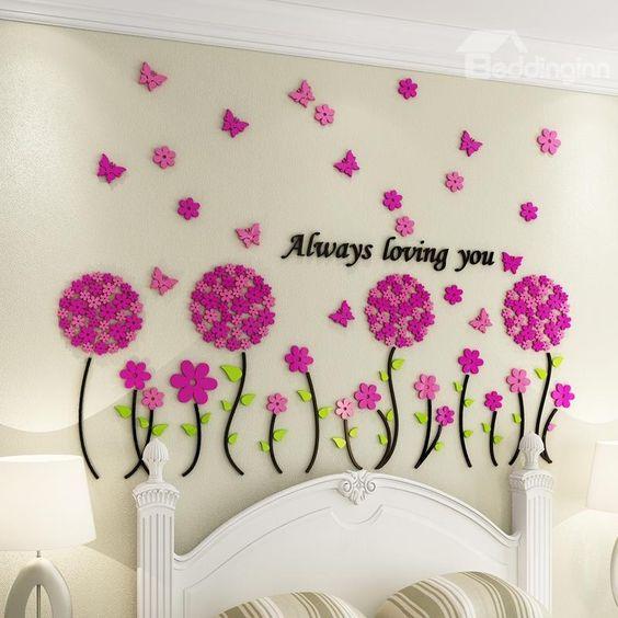 أجمل الديكورات الحائطية المجسمة ديكور-زهور.