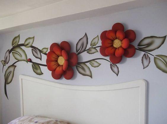 أجمل الديكورات الحائطية المجسمة ورد-احمر.jpg