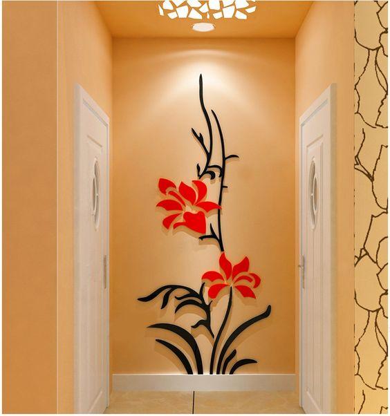 أجمل الديكورات الحائطية المجسمة ورد-برتقال�