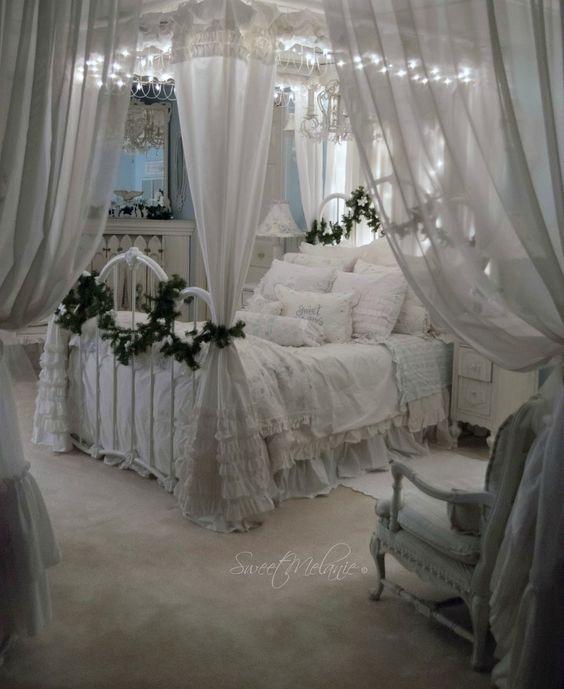 تصاميم رومانسية لغرف نوم حديثة سرير-بستار�