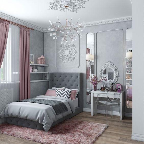 الألوان العصرية تزين غرف النوم غرفة-رمادي.