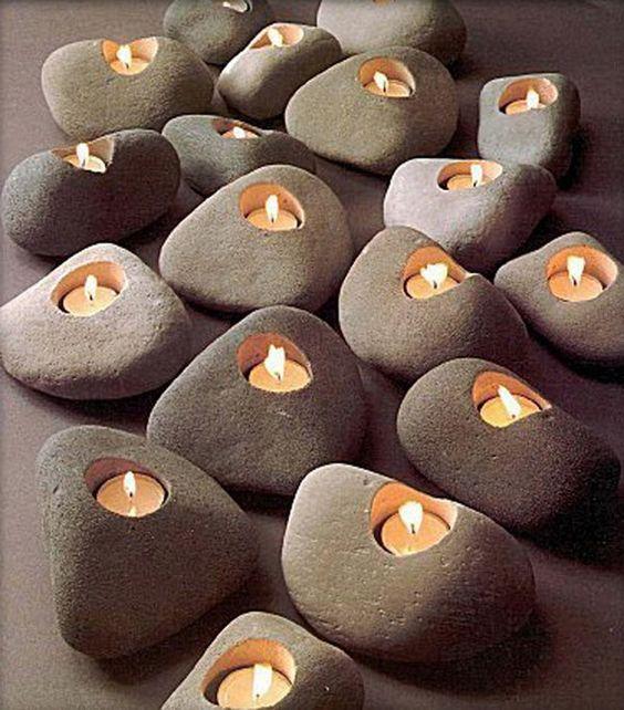 حاملات للشموع شمعدان-حجر.