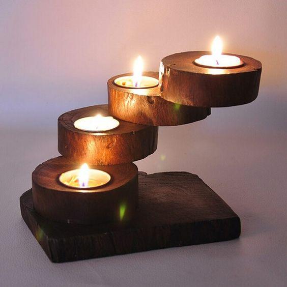 حاملات للشموع شمعدان-خشب�