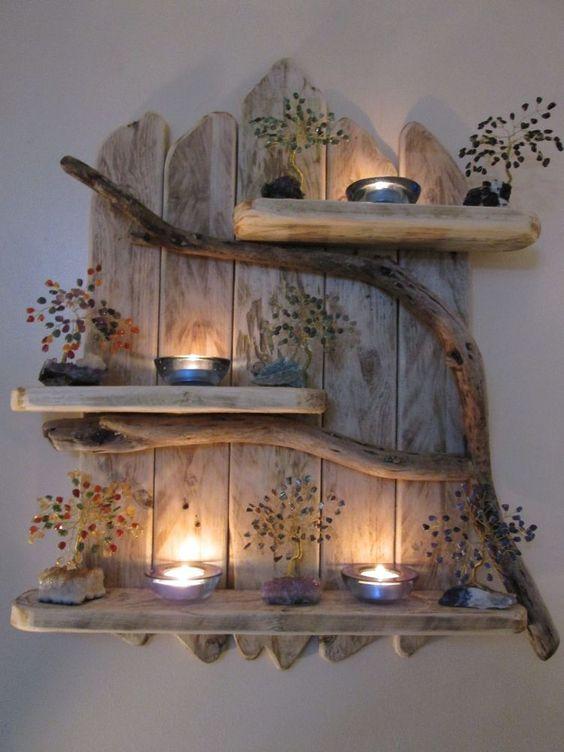 استخدام الألواح الخشبية في الديكور لوحة-بأفرع-