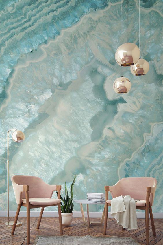 تصاميم مميزة لورق الحائط ثلاثي ورق-تركواز.