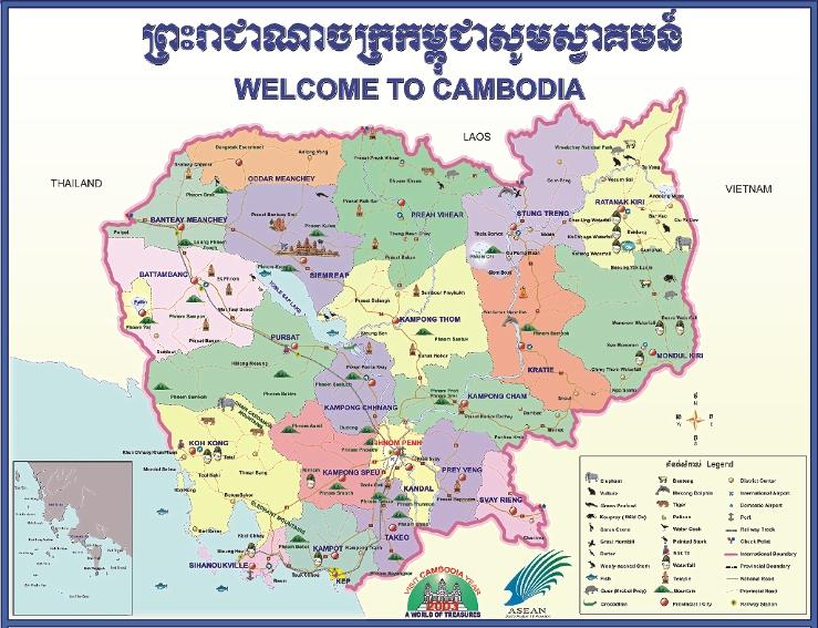 خريطة كمبوديا السياحية