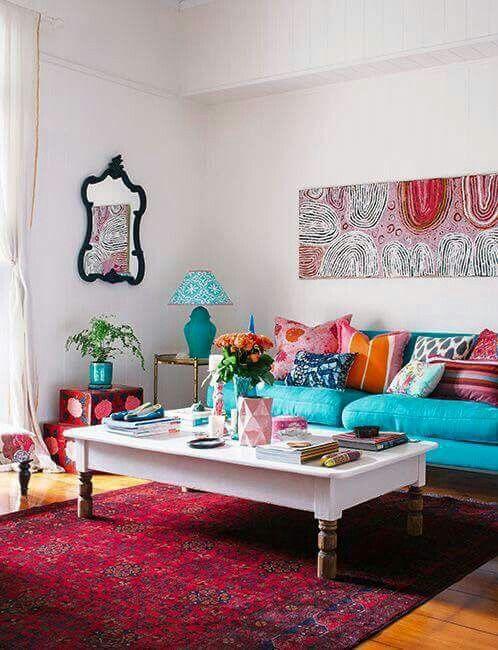 غرفة معيشة تركواز