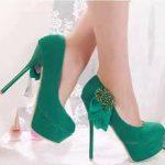 a043a5a74 ... حذاء بكعب باللون الاخضر - 678654 حذاء بكعب باللون الاسود ...