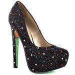 15004e746 ... حذاء بكعب باللون الاسود مطرز - 678656 ...
