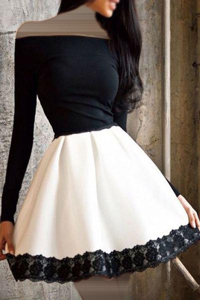 فستان أسود بتنورة ابيض