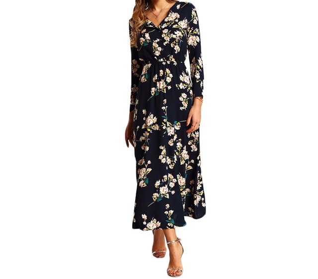 فستان طويل باللون اسود مشجر
