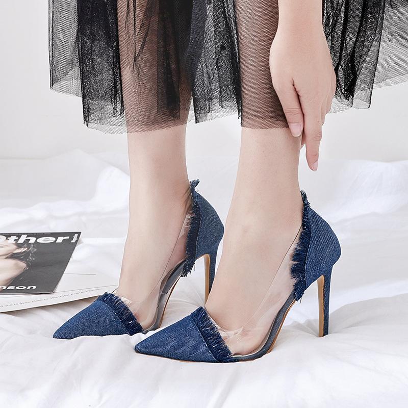 حذاء جينز بكعب