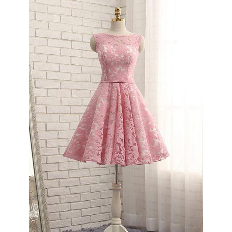 فستان وردي دنتيل