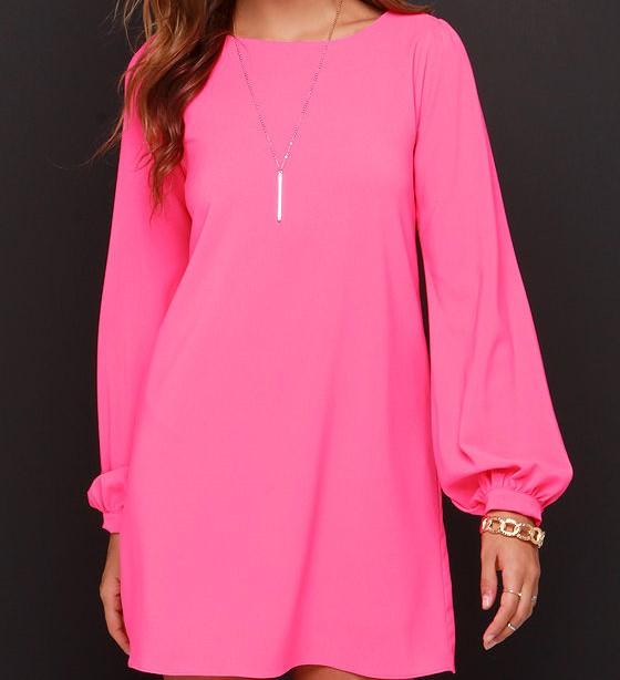 فستان وردي شيفون بكم
