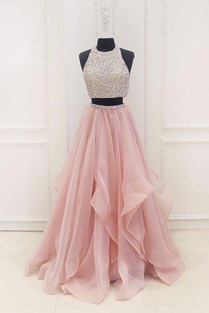 فستان وردي قطعتين