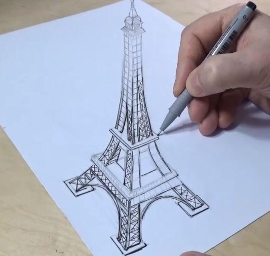 رسم برج ايفل ثلاثي الابعاد بالخطوات المرسال