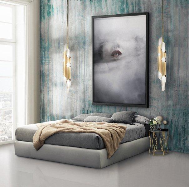 ديكور غرفة نوم رمادي و تركواز