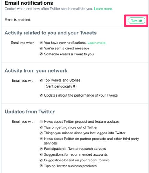 خطوات ايقاف رسائل تويتر البريد