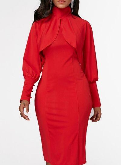 فستان احمر باكمام واسعة