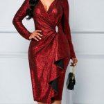 اناقة المرأة الحب تعتمد اللون فستان-احمر-