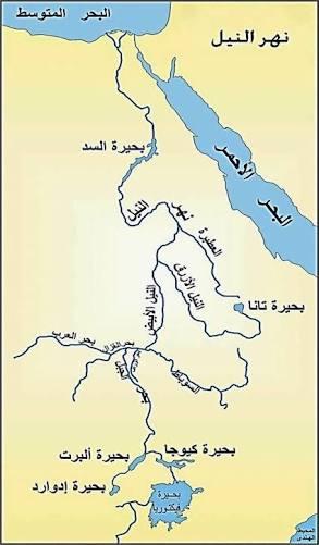 خريطة نهر النيل من المنبع الى المصب المرسال