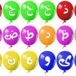 بطاقات الحروف الهجائية على شكل بالونات