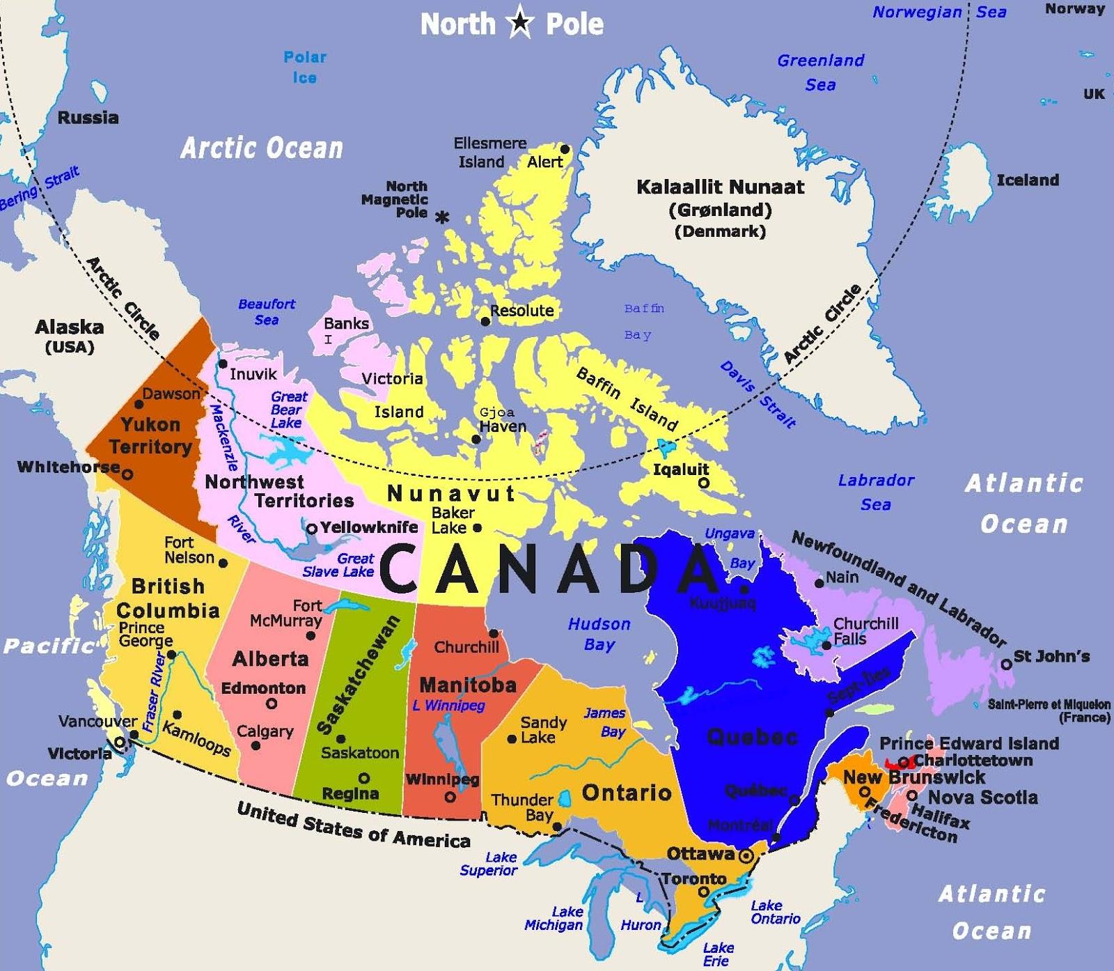 معلومات عن نظام الحكم في كندا وخريطتها المرسال