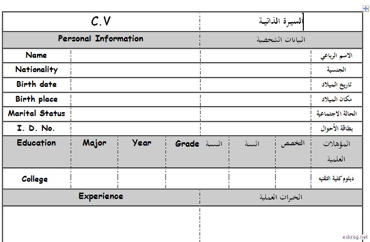 نموذج سيرة ذاتية جاهز للكتابة عربي انجليزي